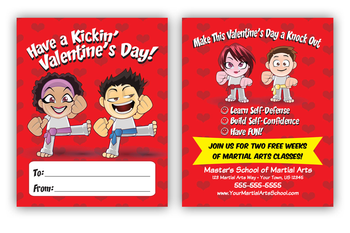 martial arts valentines day card
